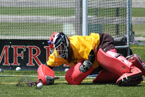 Field Hockey Camps - Goalie Lunging Save Pomfret School